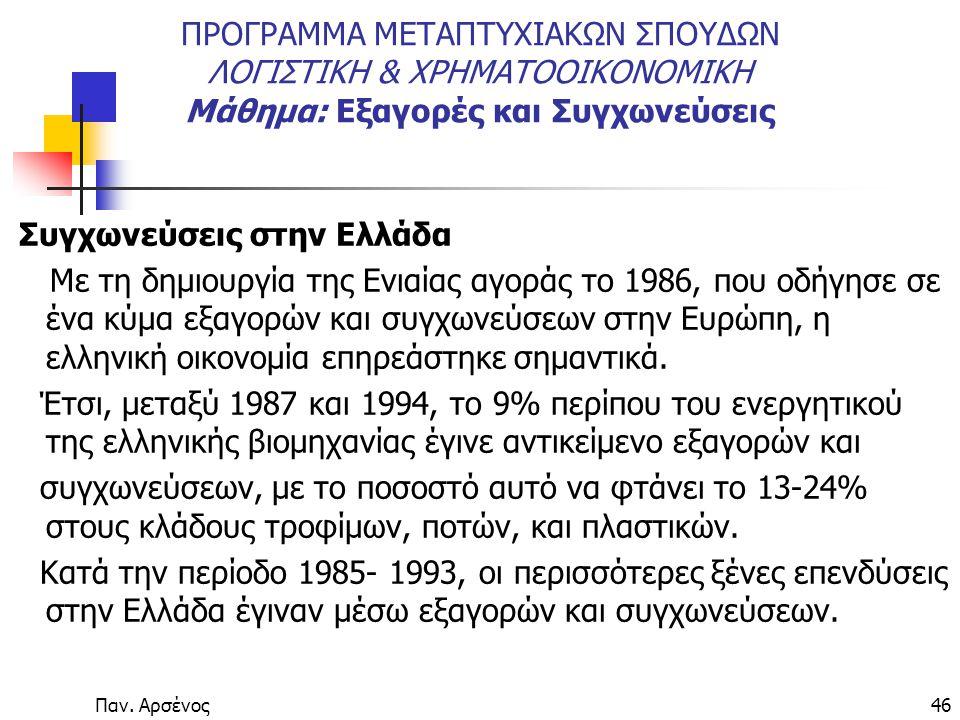 Παν. Αρσένος46 ΠΡΟΓΡΑΜΜΑ ΜΕΤΑΠΤΥΧΙΑΚΩΝ ΣΠΟΥΔΩΝ ΛΟΓΙΣΤΙΚΗ & ΧΡΗΜΑΤΟΟΙΚΟΝΟΜΙΚΗ Μάθημα: Εξαγορές και Συγχωνεύσεις Συγχωνεύσεις στην Ελλάδα Με τη δημιουργ