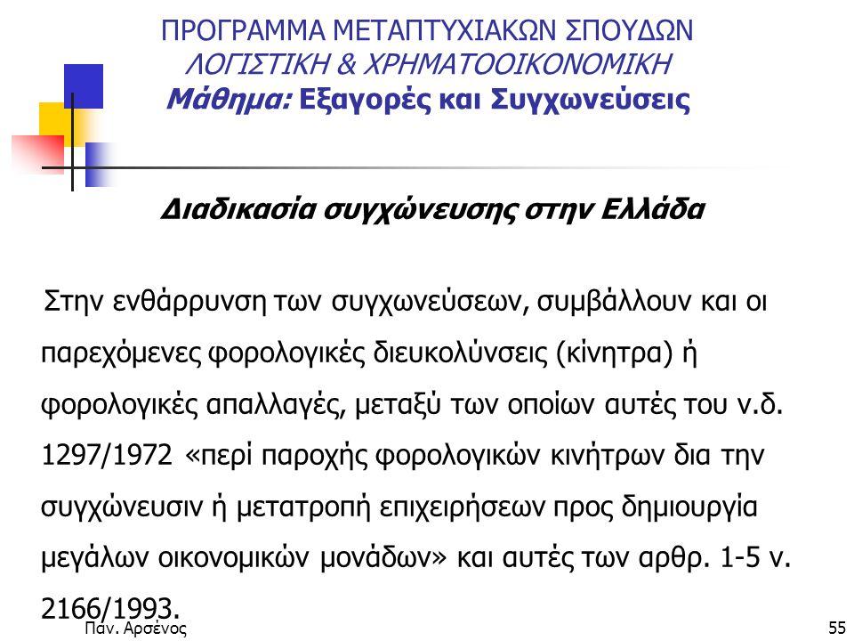 Παν. Αρσένος55 ΠΡΟΓΡΑΜΜΑ ΜΕΤΑΠΤΥΧΙΑΚΩΝ ΣΠΟΥΔΩΝ ΛΟΓΙΣΤΙΚΗ & ΧΡΗΜΑΤΟΟΙΚΟΝΟΜΙΚΗ Μάθημα: Εξαγορές και Συγχωνεύσεις Διαδικασία συγχώνευσης στην Ελλάδα Στην