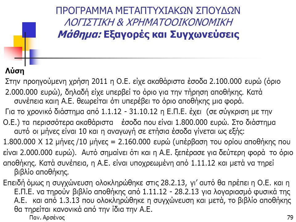 Παν. Αρσένος79 ΠΡΟΓΡΑΜΜΑ ΜΕΤΑΠΤΥΧΙΑΚΩΝ ΣΠΟΥΔΩΝ ΛΟΓΙΣΤΙΚΗ & ΧΡΗΜΑΤΟΟΙΚΟΝΟΜΙΚΗ Μάθημα: Εξαγορές και Συγχωνεύσεις Λύση Στην προηγούμενη χρήση 2011 η Ο.Ε.