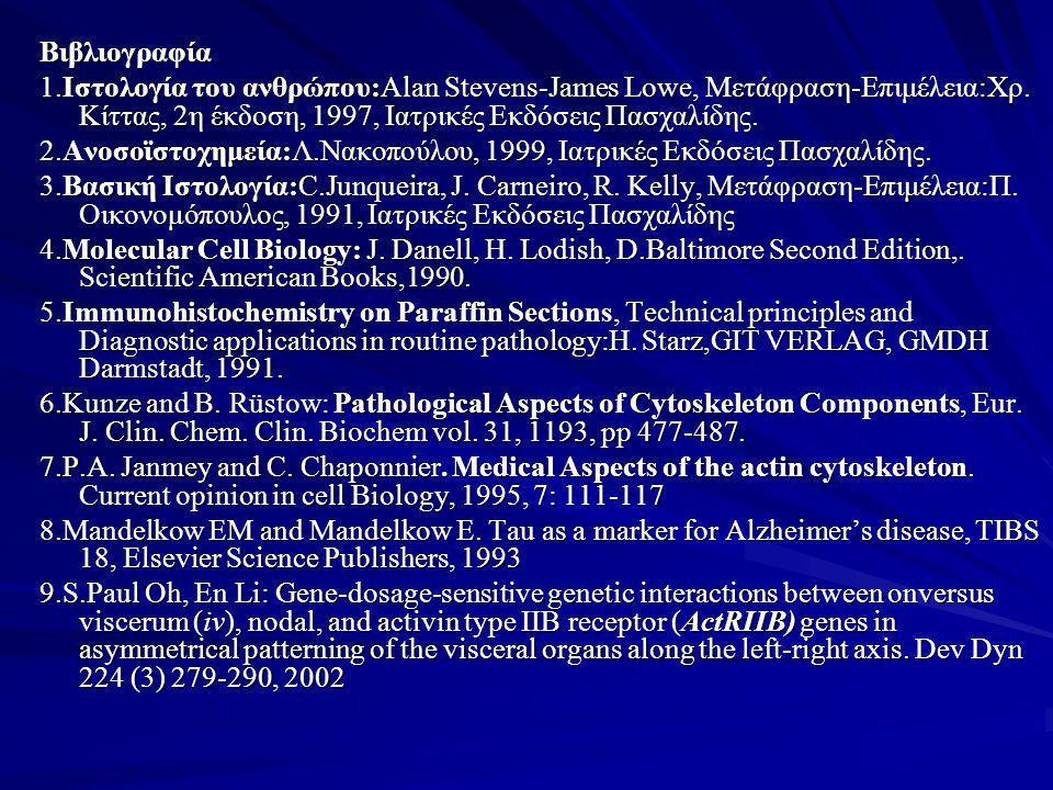 Βιβλιογραφία 1.Ιστολογία του ανθρώπου:Alan Stevens-James Lowe, Μετάφραση-Επιμέλεια:Χρ. Κίττας, 2η έκδοση, 1997, Ιατρικές Εκδόσεις Πασχαλίδης. 2.Ανοσοϊ
