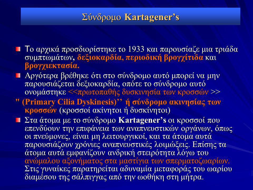 Σύνδρομο Kartagener's Τ ο αρχικά προσδιορίστηκε το 1933 και παρουσίαζε μια τριάδα συμπτωμάτων, δεξιοκαρδία, περιοδική βρογχίτιδα και βρογχιεκτασία. Αρ