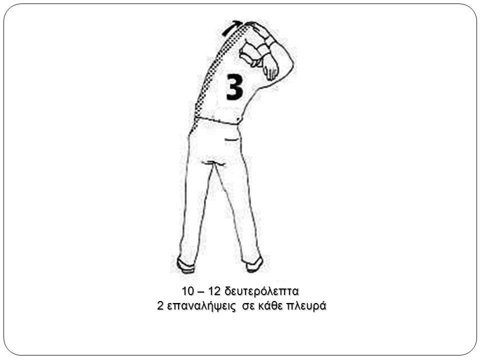 10 – 12 δευτερόλεπτα 2 επαναλήψεις σε κάθε πλευρά 2 επαναλήψεις σε κάθε πλευρά