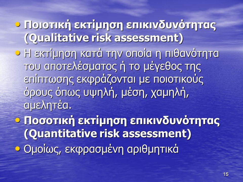 15 • Ποιοτική εκτίμηση επικινδυνότητας (Qualitative risk assessment) • Η εκτίμηση κατά την οποία η πιθανότητα του αποτελέσματος ή το μέγεθος της επίπτ