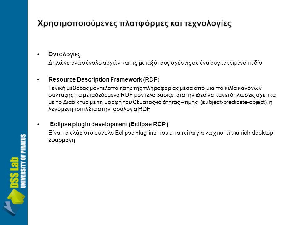 •Οντολογίες Δηλώνει ένα σύνολο αρχών και τις μεταξύ τους σχέσεις σε ένα συγκεκριμένο πεδίο •Resource Description Framework (RDF) Γενική μέθοδος μοντελοποίησης της πληροφορίας μέσα από μια ποικιλία κανόνων σύνταξης.Τα μεταδεδομένα RDF μοντέλο βασίζεται στην ιδέα να κάνει δηλώσεις σχετικά με το Διαδίκτυο με τη μορφή του θέματος-ιδιότητας –τιμής (subject-predicate-object), η λεγόμενη τριπλέτα στην ορολογία RDF • Εclipse plugin development (Eclipse RCP ) Είναι το ελάχιστο σύνολο Eclipse plug-ins που απαιτείται για να χτιστεί μια rich desktop εφαρμογή
