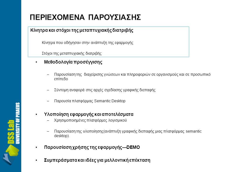 •Μεθοδολογία προσέγγισης –Παρουσίαση της διαχείρισης γνώσεων και πληροφοριών σε οργανισμούς και σε προσωπικό επίπεδο –Σύντομη αναφορά στις αρχές σχεδίασης γραφικής διεπαφής –Παρουσία πλατφόρμας Semantic Desktop •Υλοποίηση εφαρμογής και αποτελέσματα –Χρησιμοποιημένες πλατφόρμες λογισμικού –Παρουσίαση της υλοποίησης(ανάπτυξη γραφικής διεπαφής μιας πλατφόρμας semantic desktop).