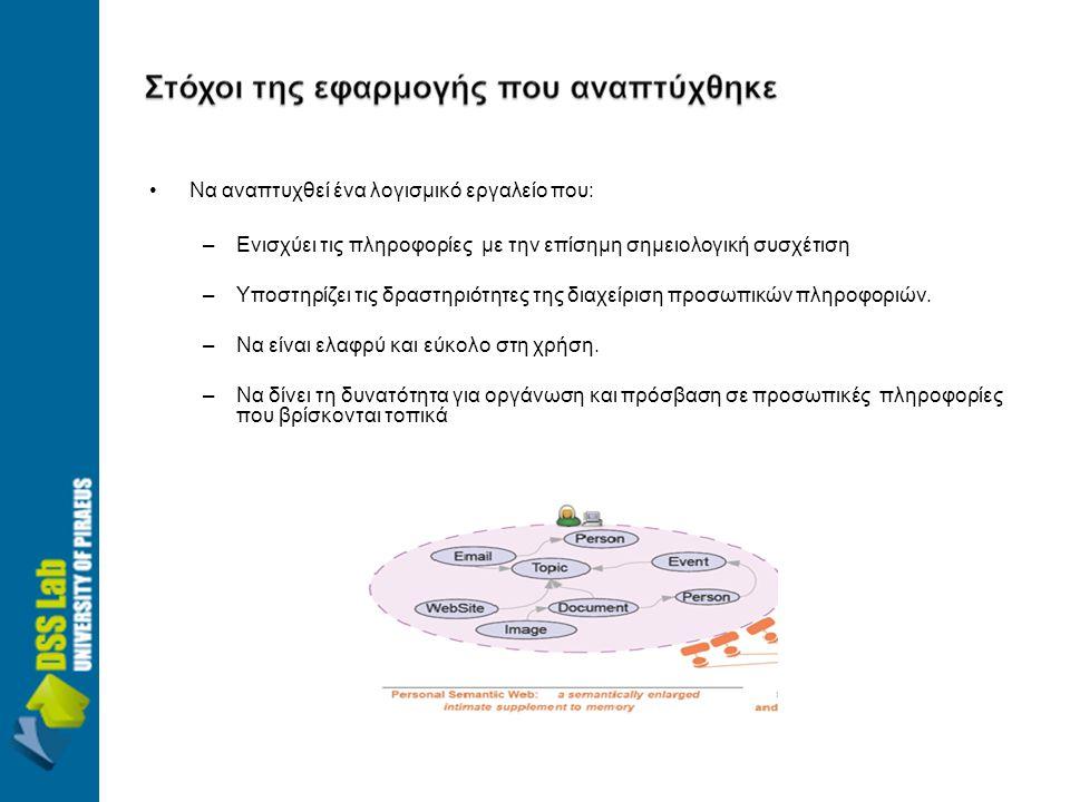 •Να αναπτυχθεί ένα λογισμικό εργαλείο που: –Ενισχύει τις πληροφορίες με την επίσημη σημειολογική συσχέτιση –Υποστηρίζει τις δραστηριότητες της διαχείριση προσωπικών πληροφοριών.