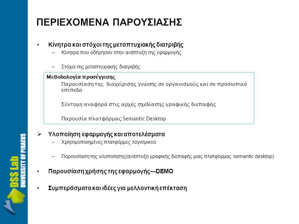•Κίνητρα και στόχοι της μεταπτυχιακής διατριβής –Κίνητρα που οδήγησαν στην ανάπτυξη της εφαρμογής –Στόχοι της μεταπτυχιακής διατριβής  Υλοποίηση εφαρμογής και αποτελέσματα –Χρησιμοποιημένες πλατφόρμες λογισμικού –Παρουσίαση της υλοποίησης(ανάπτυξη γραφικής διεπαφής μιας πλατφόρμας semantic desktop).