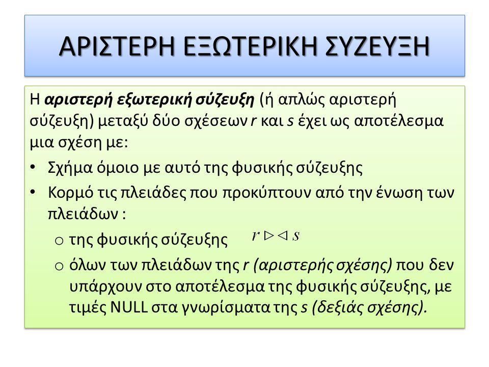ΔΕΞΙΑ ΕΞΩΤΕΡΙΚΗ ΣΥΖΕΥΞΗ Η δεξιά εξωτερική σύζευξη (ή απλώς δεξιά σύζευξη) μεταξύ δύο σχέσεων r και s έχει ως αποτέλεσμα μια σχέση με: • Σχήμα όμοιο με αυτό της φυσικής σύζευξης • Κορμό τις πλειάδες που προκύπτουν από την ένωση των πλειάδων : o της φυσικής σύζευξης o όλων των πλειάδων της s (δεξιάς σχέσης) που δεν υπάρχουν στο αποτέλεσμα της φυσικής σύζευξης, με τιμές NULL στα γνωρίσματα της r (αριστερής σχέσης).