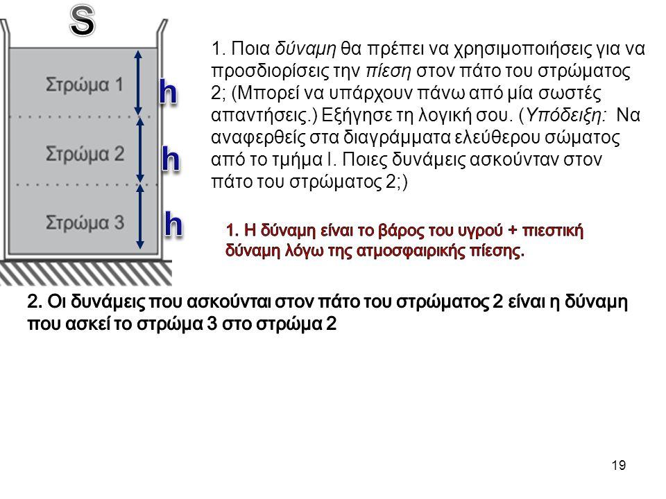19 1. Ποια δύναμη θα πρέπει να χρησιμοποιήσεις για να προσδιορίσεις την πίεση στον πάτο του στρώματος 2; (Μπορεί να υπάρχουν πάνω από μία σωστές απαντ