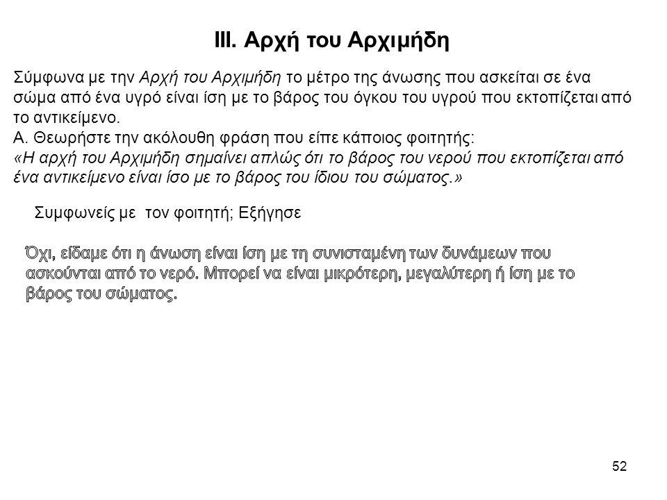 52 ΙΙΙ. Αρχή του Αρχιμήδη Σύμφωνα με την Αρχή του Αρχιμήδη το μέτρο της άνωσης που ασκείται σε ένα σώμα από ένα υγρό είναι ίση με το βάρος του όγκου τ