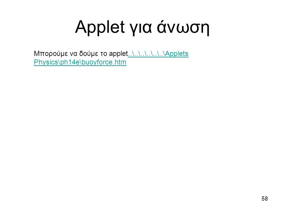 Applet για άνωση 58 Μπορούμε να δούμε το applet..\..\..\..\..\..\Applets Physics\ph14e\buoyforce.htm..\..\..\..\..\..\Applets Physics\ph14e\buoyforce.