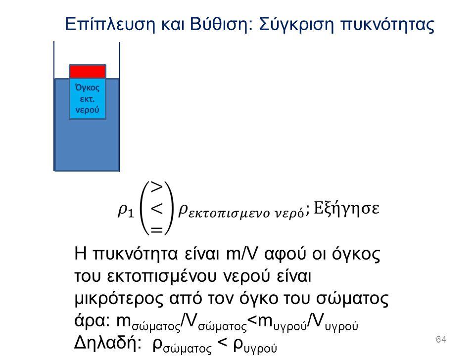 64 Επίπλευση και Βύθιση: Σύγκριση πυκνότητας Η πυκνότητα είναι m/V αφού οι όγκος του εκτοπισμένου νερού είναι μικρότερος από τον όγκο του σώματος άρα: