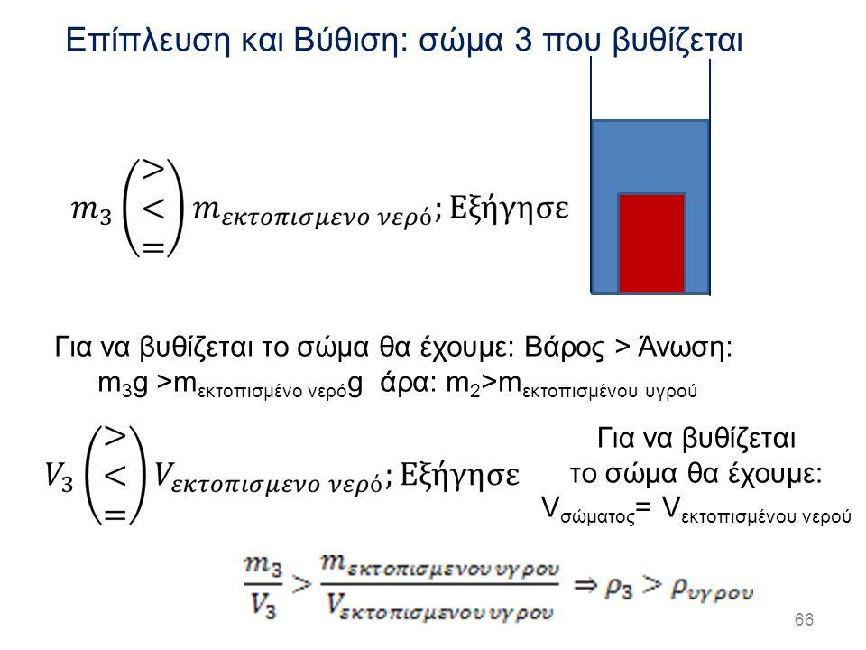 66 Επίπλευση και Βύθιση: σώμα 3 που βυθίζεται Για να βυθίζεται το σώμα θα έχουμε: Βάρος > Άνωση: m 3 g >m εκτοπισμένο νερό g άρα: m 2 >m εκτοπισμένου