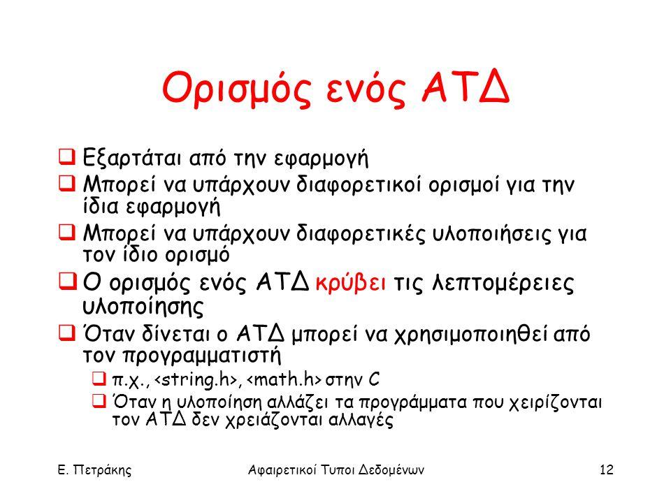 E. ΠετράκηςΑφαιρετικοί Τυποι Δεδομένων12 Ορισμός ενός ΑΤΔ  Εξαρτάται από την εφαρμογή  Μπορεί να υπάρχουν διαφορετικοί ορισμοί για την ίδια εφαρμογή