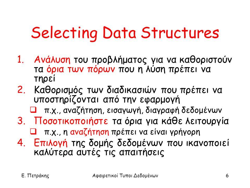 E. ΠετράκηςΑφαιρετικοί Τυποι Δεδομένων6 Selecting Data Structures 1.Ανάλυση του προβλήματος για να καθοριστούν τα όρια των πόρων που η λύση πρέπει να