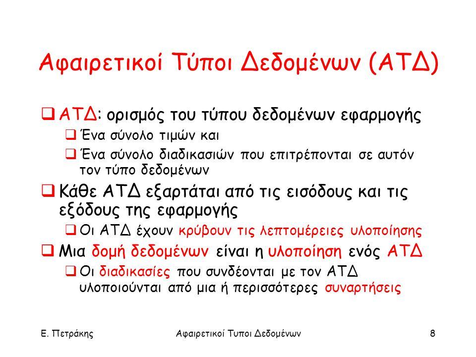 E. ΠετράκηςΑφαιρετικοί Τυποι Δεδομένων8 Αφαιρετικοί Τύποι Δεδομένων (ΑΤΔ)  ATΔ: ορισμός του τύπου δεδομένων εφαρμογής  Ένα σύνολο τιμών και  Ένα σύ
