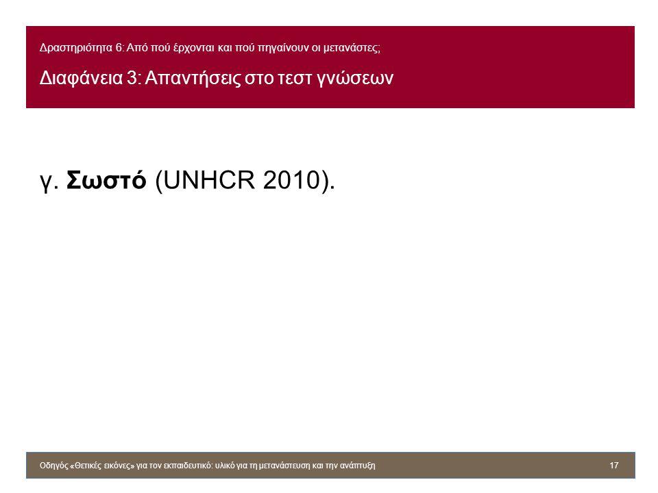 Δραστηριότητα 6: Από πού έρχονται και πού πηγαίνουν οι μετανάστες; Διαφάνεια 3: Απαντήσεις στο τεστ γνώσεων γ. Σωστό (UNHCR 2010). Οδηγός «Θετικές εικ