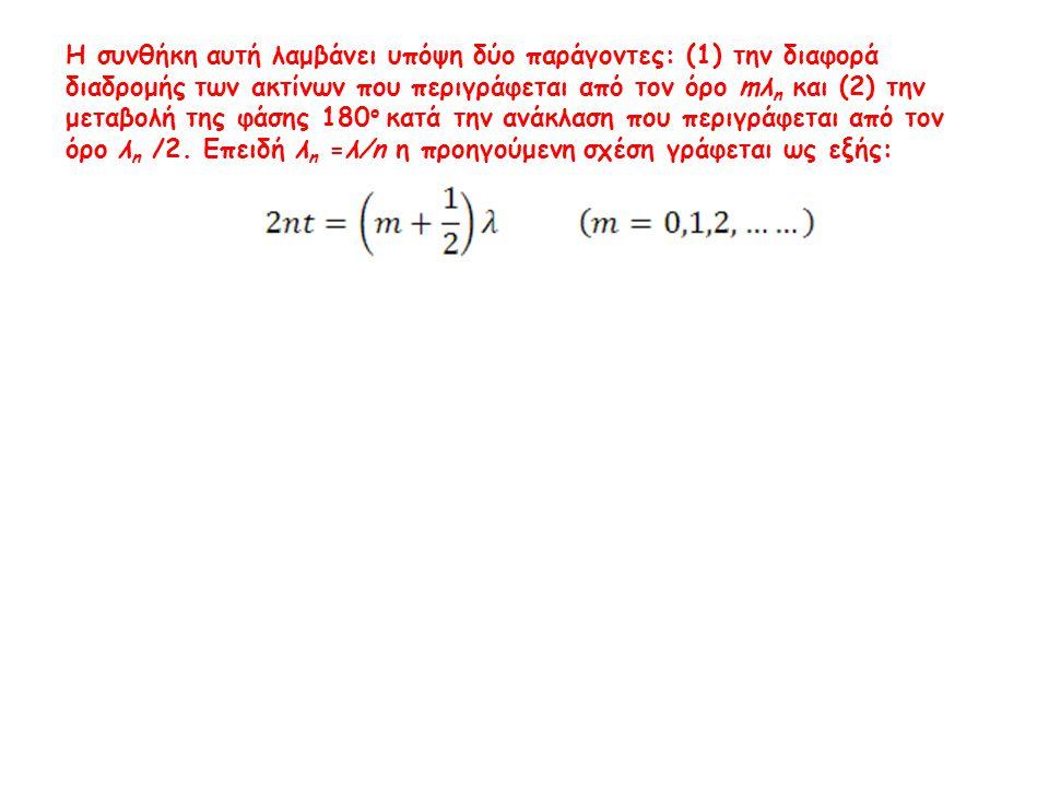 Η συνθήκη αυτή λαμβάνει υπόψη δύο παράγοντες: (1) την διαφορά διαδρομής των ακτίνων που περιγράφεται από τον όρο mλ n και (2) την μεταβολή της φάσης 1