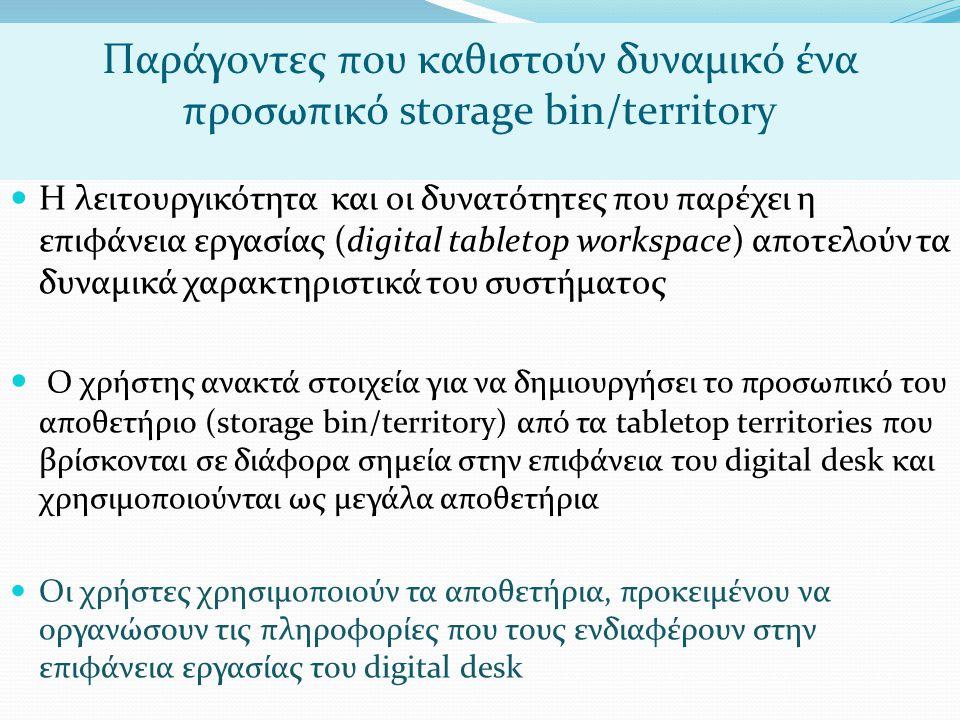 Παράγοντες που καθιστούν δυναμικό ένα προσωπικό storage bin/territory  Η λειτουργικότητα και οι δυνατότητες που παρέχει η επιφάνεια εργασίας (digital tabletop workspace) αποτελούν τα δυναμικά χαρακτηριστικά του συστήματος  Ο χρήστης ανακτά στοιχεία για να δημιουργήσει το προσωπικό του αποθετήριο (storage bin/territory) από τα tabletop territories που βρίσκονται σε διάφορα σημεία στην επιφάνεια του digital desk και χρησιμοποιούνται ως μεγάλα αποθετήρια  Οι χρήστες χρησιμοποιούν τα αποθετήρια, προκειμένου να οργανώσουν τις πληροφορίες που τους ενδιαφέρουν στην επιφάνεια εργασίας του digital desk