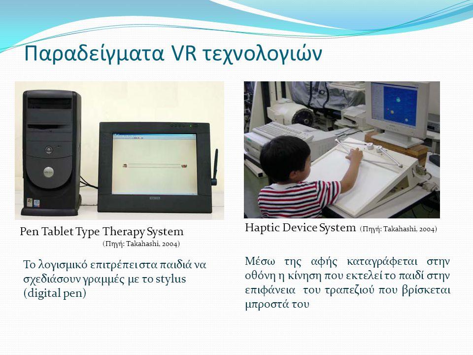Παραδείγματα VR τεχνολογιών Pen Tablet Type Therapy System Το λογισμικό επιτρέπει στα παιδιά να σχεδιάσουν γραμμές με το stylus (digital pen) Haptic Device System (Πηγή: Takahashi, 2004) Μέσω της αφής καταγράφεται στην οθόνη η κίνηση που εκτελεί το παιδί στην επιφάνεια του τραπεζιού που βρίσκεται μπροστά του