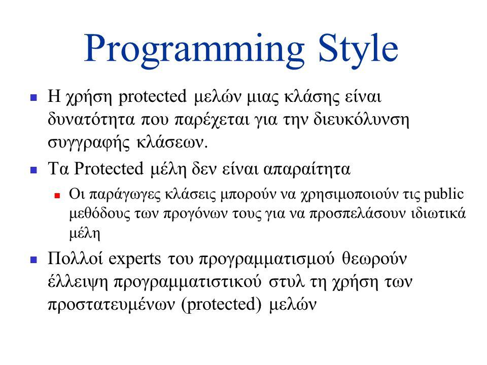Programming Style  Η χρήση protected μελών μιας κλάσης είναι δυνατότητα που παρέχεται για την διευκόλυνση συγγραφής κλάσεων.