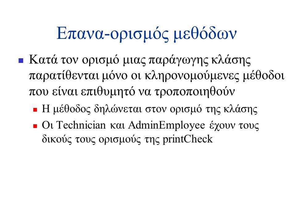 Επανα-ορισμός μεθόδων  Κατά τον ορισμό μιας παράγωγης κλάσης παρατίθενται μόνο οι κληρονομούμενες μέθοδοι που είναι επιθυμητό να τροποποιηθούν  Η μέθοδος δηλώνεται στον ορισμό της κλάσης  Οι Technician και AdminEmployee έχουν τους δικούς τους ορισμούς της printCheck