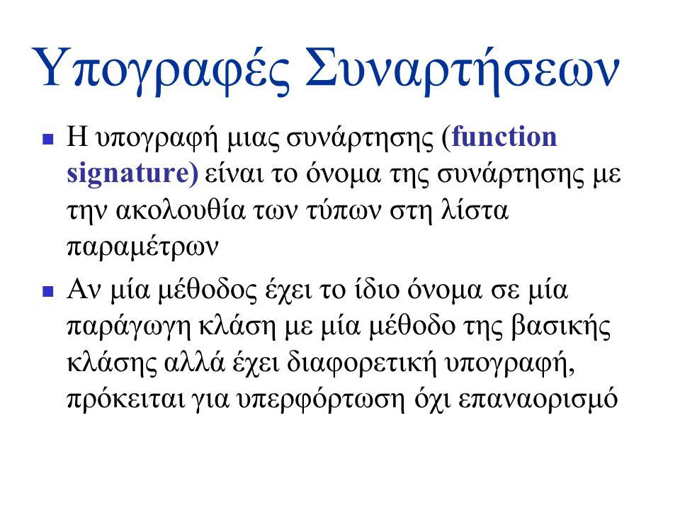 Υπογραφές Συναρτήσεων  Η υπογραφή μιας συνάρτησης (function signature) είναι το όνομα της συνάρτησης με την ακολουθία των τύπων στη λίστα παραμέτρων  Αν μία μέθοδος έχει το ίδιο όνομα σε μία παράγωγη κλάση με μία μέθοδο της βασικής κλάσης αλλά έχει διαφορετική υπογραφή, πρόκειται για υπερφόρτωση όχι επαναορισμό