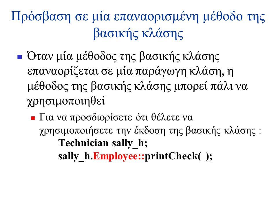 Πρόσβαση σε μία επαναορισμένη μέθοδο της βασικής κλάσης  Όταν μία μέθοδος της βασικής κλάσης επαναορίζεται σε μία παράγωγη κλάση, η μέθοδος της βασικής κλάσης μπορεί πάλι να χρησιμοποιηθεί  Για να προσδιορίσετε ότι θέλετε να χρησιμοποιήσετε την έκδοση της βασικής κλάσης : Technician sally_h; sally_h.Employee::printCheck( );