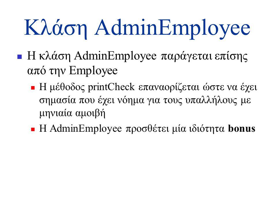 Κλάση AdminEmployee  Η κλάση AdminEmployee παράγεται επίσης από την Εmployee  Η μέθοδος printCheck επαναορίζεται ώστε να έχει σημασία που έχει νόημα για τους υπαλλήλους με μηνιαία αμοιβή  Η AdminEmployee προσθέτει μία ιδιότητα bonus
