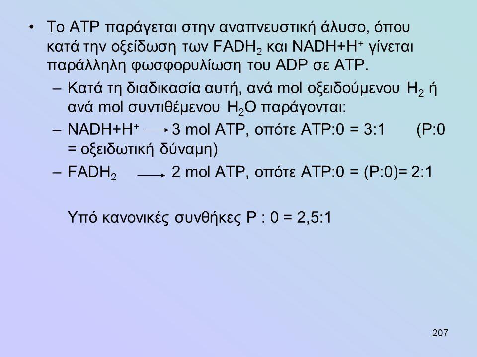 207 •To ATP παράγεται στην αναπνευστική άλυσο, όπου κατά την οξείδωση των FADH 2 και NADH+H + γίνεται παράλληλη φωσφορυλίωση του ADP σε ΑΤΡ. –Κατά τη
