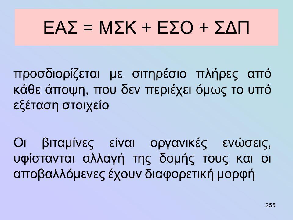 253 ΕΑΣ = ΜΣΚ + ΕΣΟ + ΣΔΠ προσδιορίζεται με σιτηρέσιο πλήρες από κάθε άποψη, που δεν περιέχει όμως το υπό εξέταση στοιχείο Οι βιταμίνες είναι οργανικέ