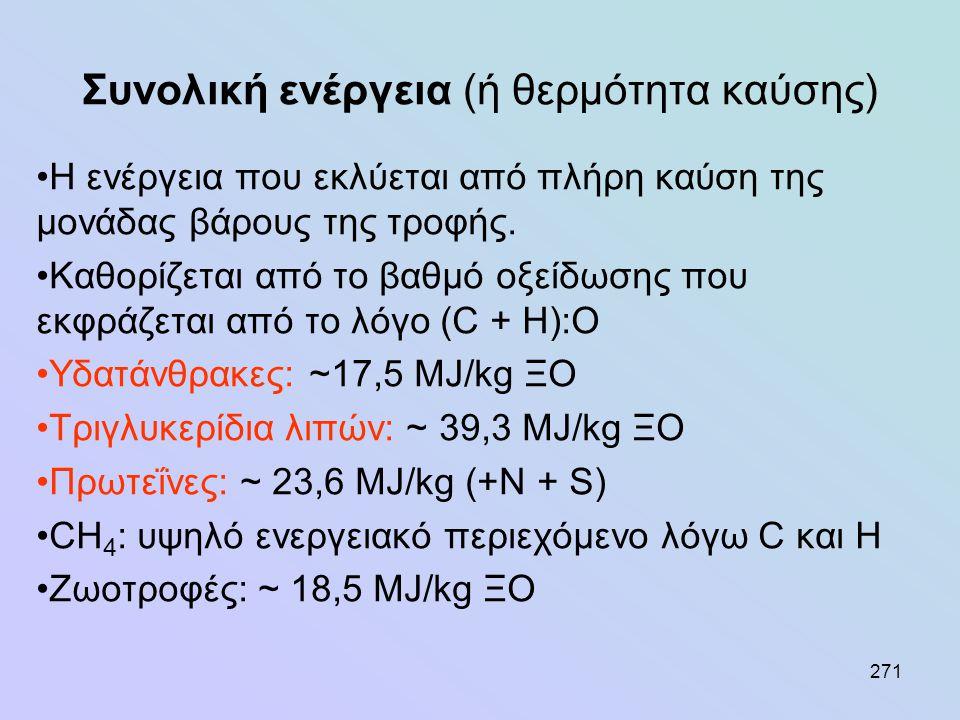 271 Συνολική ενέργεια (ή θερμότητα καύσης) •Η ενέργεια που εκλύεται από πλήρη καύση της μονάδας βάρους της τροφής. •Καθορίζεται από το βαθμό οξείδωσης
