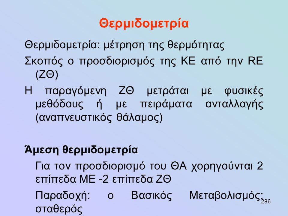 286 Θερμιδομετρία Θερμιδομετρία: μέτρηση της θερμότητας Σκοπός ο προσδιορισμός της ΚΕ από την RE (ΖΘ) Η παραγόμενη ΖΘ μετράται με φυσικές μεθόδους ή μ
