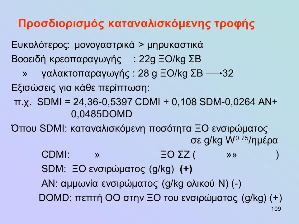 109 Προσδιορισμός καταναλισκόμενης τροφής Ευκολότερος: μονογαστρικά > μηρυκαστικά Βοοειδή κρεοπαραγωγής : 22g ΞΟ/kg ΣΒ » γαλακτοπαραγωγής : 28 g ΞΟ/kg