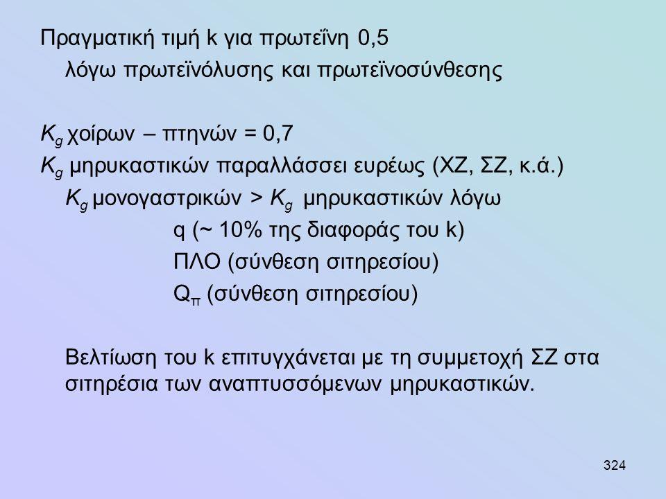 324 Πραγματική τιμή k για πρωτεΐνη 0,5 λόγω πρωτεϊνόλυσης και πρωτεϊνοσύνθεσης Κ g χοίρων – πτηνών = 0,7 Κ g μηρυκαστικών παραλλάσσει ευρέως (ΧΖ, ΣΖ,