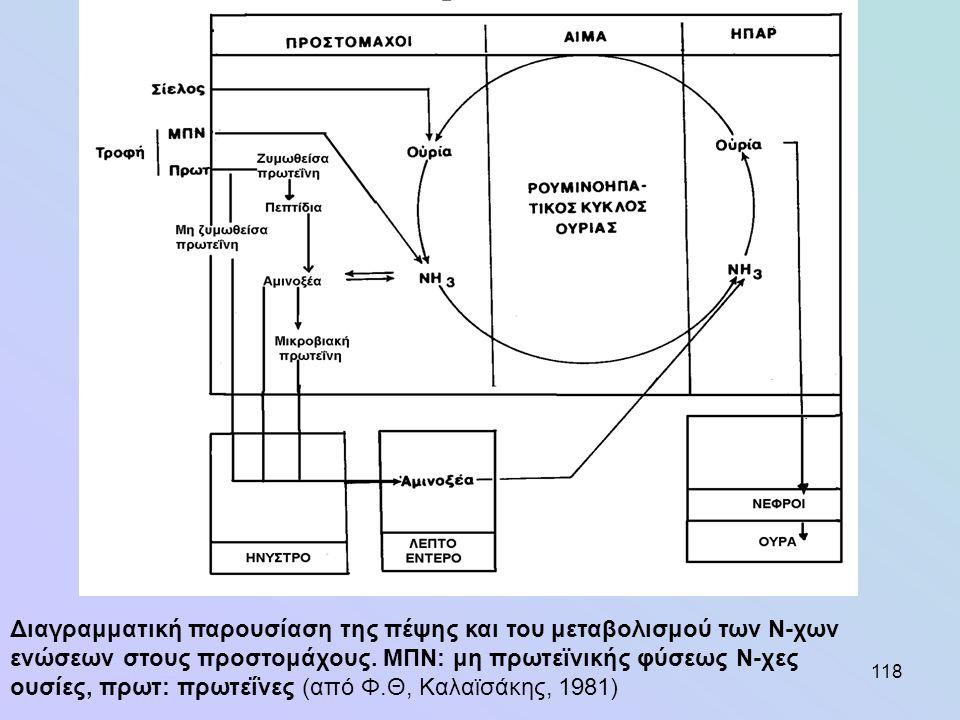 118 Διαγραμματική παρουσίαση της πέψης και του μεταβολισμού των Ν-χων ενώσεων στους προστομάχους. ΜΠΝ: μη πρωτεϊνικής φύσεως Ν-χες ουσίες, πρωτ: πρωτε