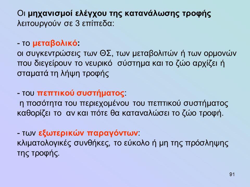 122 Πέψη λιπιδίων ουδέτερα λίπη τροφής υδρόλυση γλυκερίνη κ' ΛΟ στους προστομάχους Γλυκερίνη καταβολίζεται σε κατώτερα ΛΟ (προπιονικό) ΛΟ (ακόρεστα με μέχρι C 18 υδρογόνωση κορεσμένα ΛΟ) Ζωοτροφές μηρυκαστικών λιπαρές ουσίες πλούσιες σε λινελαϊκό και λινολενικό CLA (συζευγμένο λινελαϊκό οξύ) αποτρέπει την καρκινογένεση και την αθηρωσκλήρωση, μειώνει την εναπόθεση λίπους