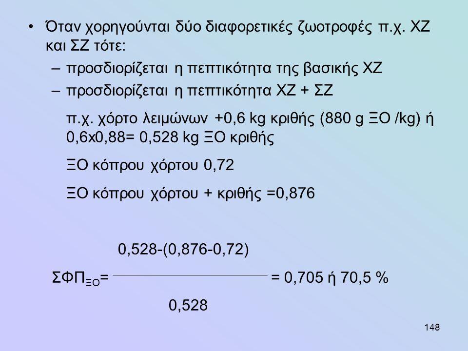 148 •Όταν χορηγούνται δύο διαφορετικές ζωοτροφές π.χ. ΧΖ και ΣΖ τότε: –προσδιορίζεται η πεπτικότητα της βασικής ΧΖ –προσδιορίζεται η πεπτικότητα ΧΖ +