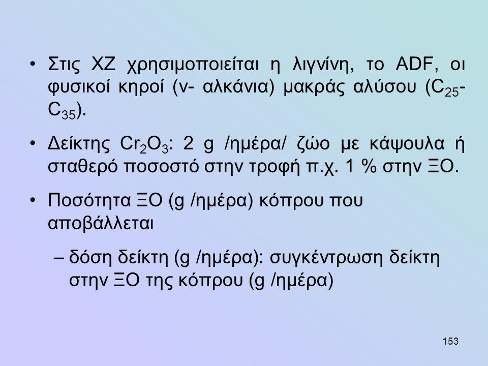 153 •Στις ΧΖ χρησιμοποιείται η λιγνίνη, το ADF, οι φυσικοί κηροί (ν- αλκάνια) μακράς αλύσου (C 25 - C 35 ). •Δείκτης Cr 2 O 3 : 2 g /ημέρα/ ζώο με κάψ