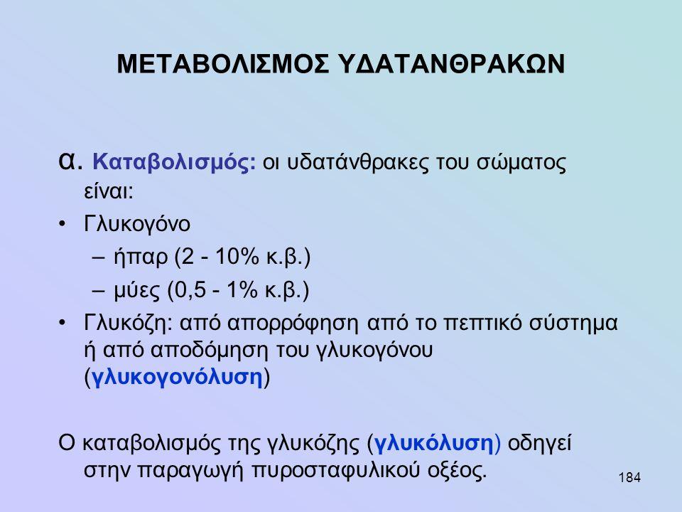 184 ΜΕΤΑΒΟΛΙΣΜΟΣ ΥΔΑΤΑΝΘΡΑΚΩΝ α. Καταβολισμός: οι υδατάνθρακες του σώματος είναι: •Γλυκογόνο –ήπαρ (2 - 10% κ.β.) –μύες (0,5 - 1% κ.β.) •Γλυκόζη: από