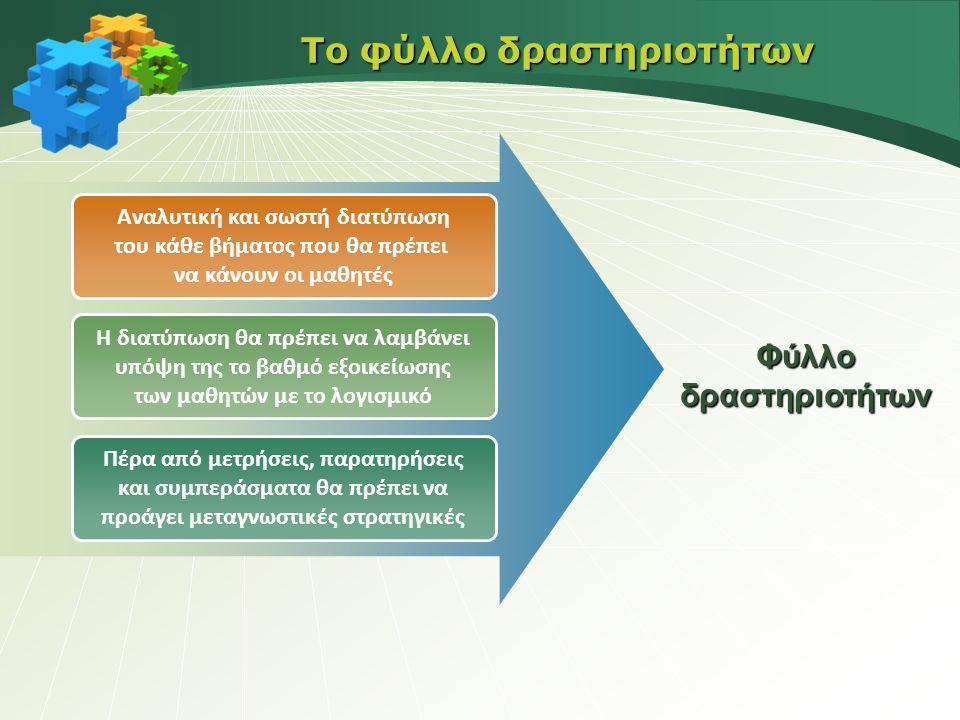 Αναλυτική και σωστή διατύπωση του κάθε βήματος που θα πρέπει να κάνουν οι μαθητές Η διατύπωση θα πρέπει να λαμβάνει υπόψη της το βαθμό εξοικείωσης των