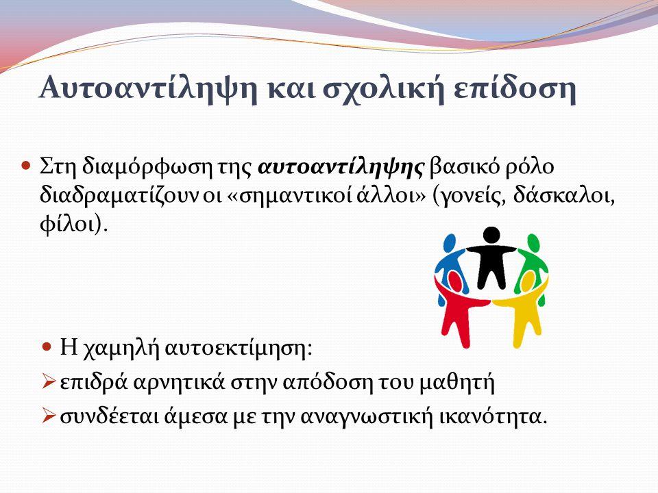 Στη διαμόρφωση της αυτοαντίληψης βασικό ρόλο διαδραματίζουν οι «σημαντικοί άλλοι» (γονείς, δάσκαλοι, φίλοι).