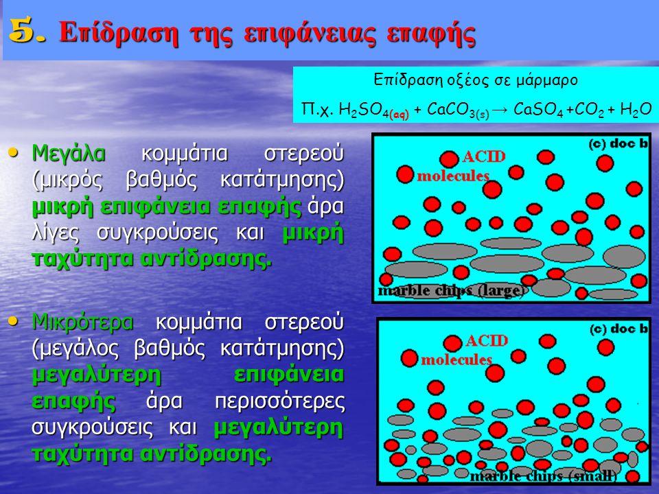 • Μεγάλα κομμάτια στερεού (μικρός βαθμός κατάτμησης) μικρή επιφάνεια επαφής άρα λίγες συγκρούσεις και μικρή ταχύτητα αντίδρασης. • Μικρότερα κομμάτια