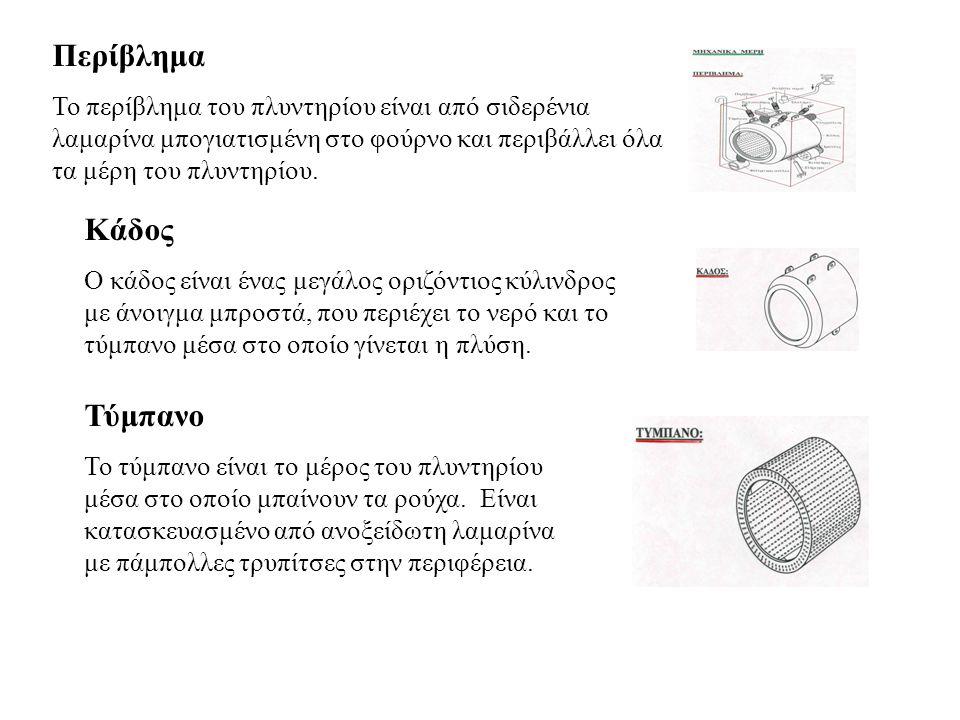 Περίβλημα Το περίβλημα του πλυντηρίου είναι από σιδερένια λαμαρίνα μπογιατισμένη στο φούρνο και περιβάλλει όλα τα μέρη του πλυντηρίου. Κάδος Ο κάδος ε