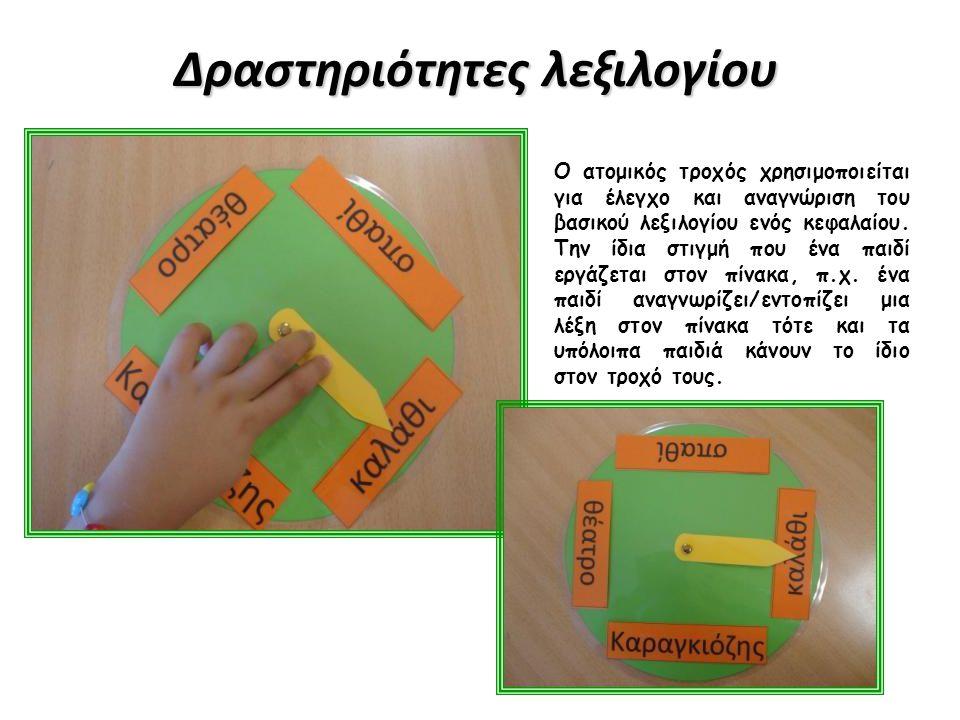 Δραστηριότητες λεξιλογίου Ο ατομικός τροχός χρησιμοποιείται για έλεγχο και αναγνώριση του βασικού λεξιλογίου ενός κεφαλαίου. Την ίδια στιγμή που ένα π