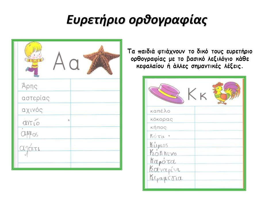 Ευρετήριο ορθογραφίας Τα παιδιά φτιάχνουν το δικό τους ευρετήριο ορθογραφίας με το βασικό λεξιλόγιο κάθε κεφαλαίου ή άλλες σημαντικές λέξεις.