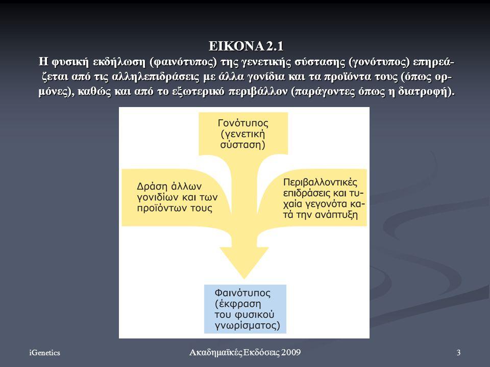 iGenetics 3 Ακαδημαϊκές Εκδόσεις 2009 ΕΙΚΟΝΑ 2.1 Η φυσική εκδήλωση (φαινότυπος) της γενετικής σύστασης (γονότυπος) επηρεά- ζεται από τις αλληλεπιδράσε
