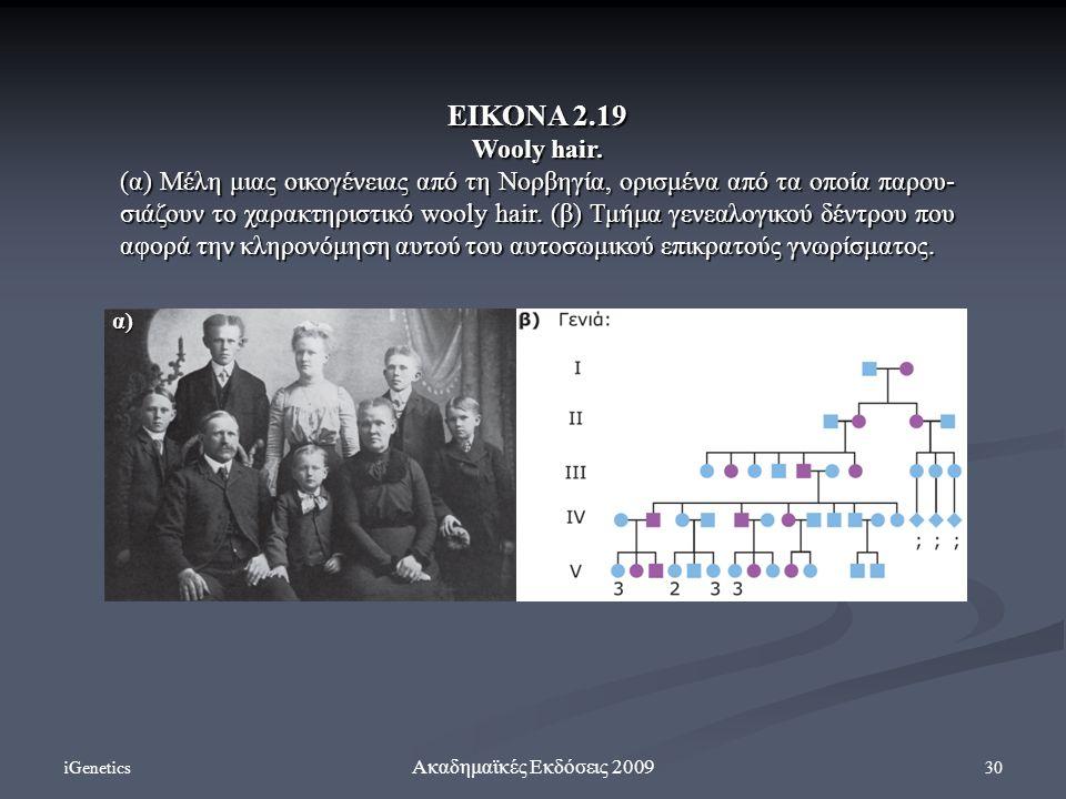 iGenetics 30 Ακαδημαϊκές Εκδόσεις 2009 ΕΙΚΟΝΑ 2.19 Wooly hair. (α) Μέλη μιας οικογένειας από τη Νορβηγία, ορισμένα από τα οποία παρου- σιάζουν το χαρα