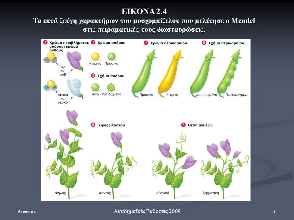 iGenetics 6 Ακαδημαϊκές Εκδόσεις 2009 ΕΙΚΟΝΑ 2.4 Τα επτά ζεύγη χαρακτήρων του μοσχομπίζελου που μελέτησε ο Mendel στις πειραματικές τους διασταυρώσεις