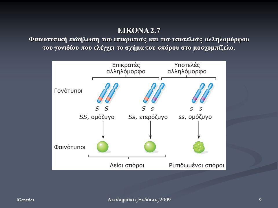 iGenetics 9 Ακαδημαϊκές Εκδόσεις 2009 ΕΙΚΟΝΑ 2.7 Φαινοτυπική εκδήλωση του επικρατούς και του υποτελούς αλληλομόρφου του γονιδίου που ελέγχει το σχήμα